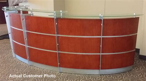 cherry reception desk in stock free shipping