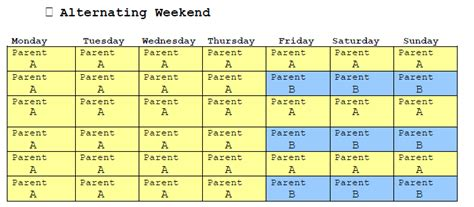 Sle Florida Child Custody Schedules Abc Family Law Blog Every Other Weekend Schedule Template