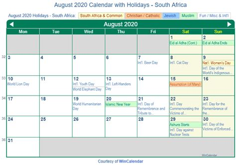 print friendly august  south africa calendar  printing