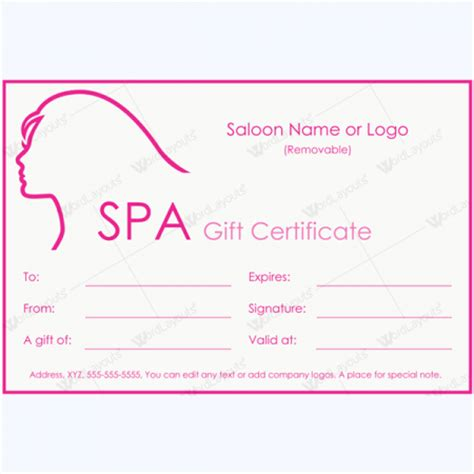 50 Plus Spa Gift Certificate Designs To Try This Season Spa Gift Certificate Template Word