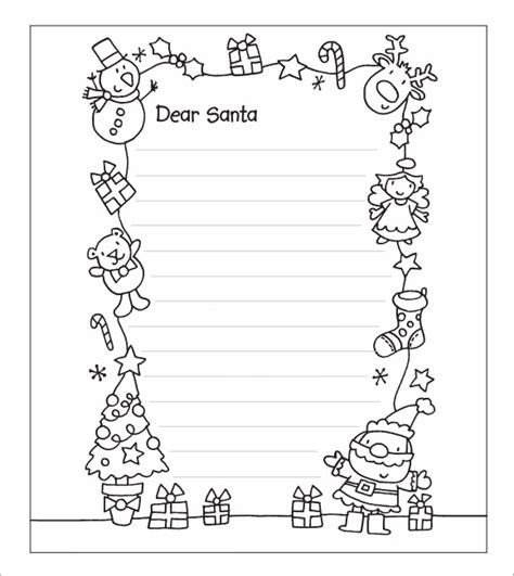 Letter To Santa Template Free Printable Black And White | santa letter template 7 download free documents in pdf