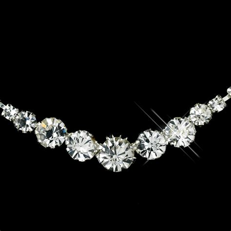 rhinestones for jewelry silver clear rhinestone necklace earrings jewelry set 72074