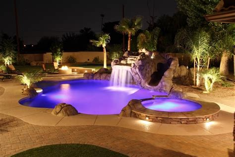 pool landscape lighting stunning swimming pool and landscape waterfalls outdoor lighting landscaping tubs and