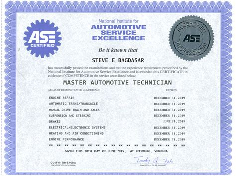 ase certificate template san diego auto repair ase certificates