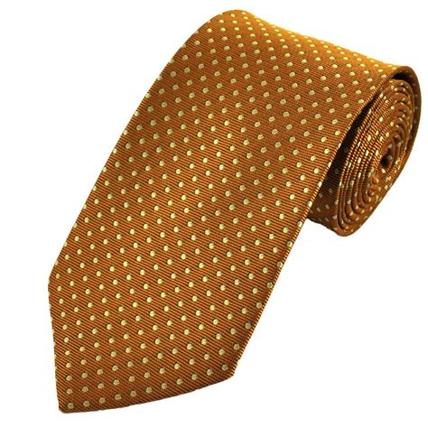 gold yellow polka dot patterned s tie from