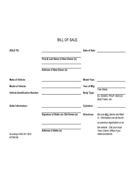Vehicle Bill Of Sale Template New Hshire Free Download Nh Boat Bill Of Sale Template