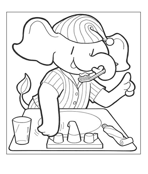 dental assisting coloring book coloring page with elephant brushing his teeth dental