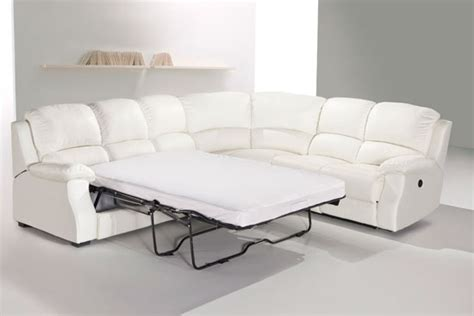 corner lounge with sofa bed and recliner esprit leather corner sofa with recliner and sofabed white