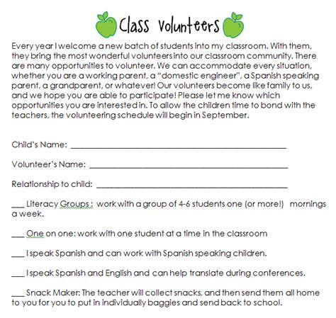 Parent Volunteer Letter For Classroom Kallen8372 Communication