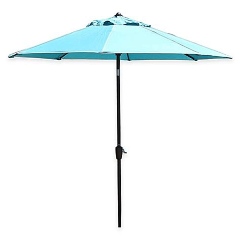 Teal Patio Umbrella Buy Living 9 Foot Patio Umbrella In Tahiti Coco Teal From Bed Bath Beyond