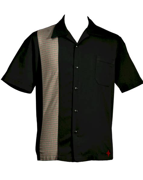 Panel Shirt mens black with plaid panel button up bowling retro shirt