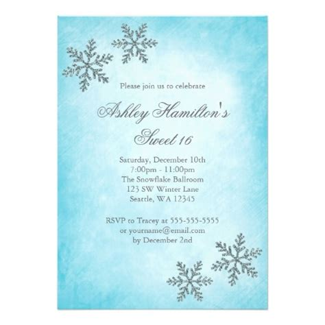 free template invitation card snowflakes sweet 16 winter sparkle snowflakes invitation card