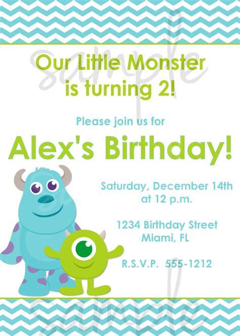 Monster Inc Birthday Invitation Inspired Monsters Inc Monsters Inc Birthday Invitations Template