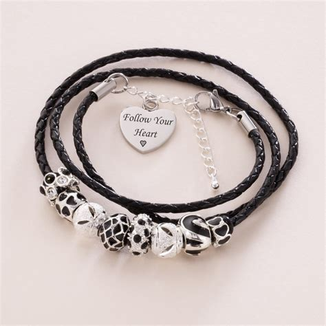 charming bead shop sterling silver beaded wrap bracelet with engraving