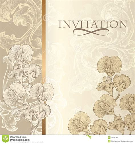 fashion elegant background with hand drawn flowers royalty elegant invitation card in vintage style royalty free