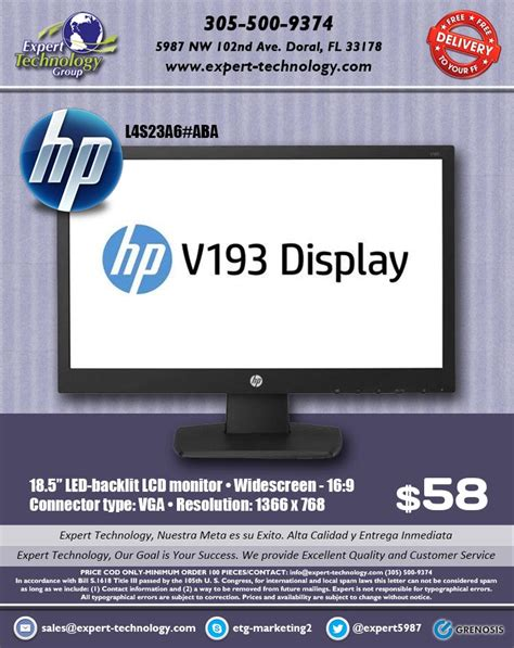 Hp V193b Monitor Led hp v193b led display monitor expert technology