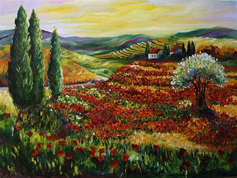 what makes tuscan landscape design so elegant design texas contemporary fine artist laurie pace fields of red