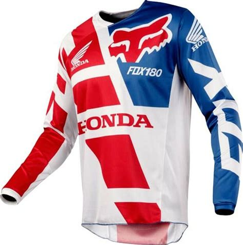 honda motocross gear 2018 fox 180 honda motocross jersey red white blue 1stmx