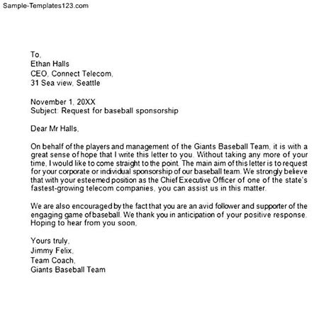 cover letter for sports team