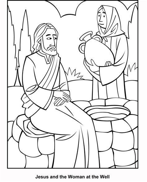 woman at the well coloring page coloring home