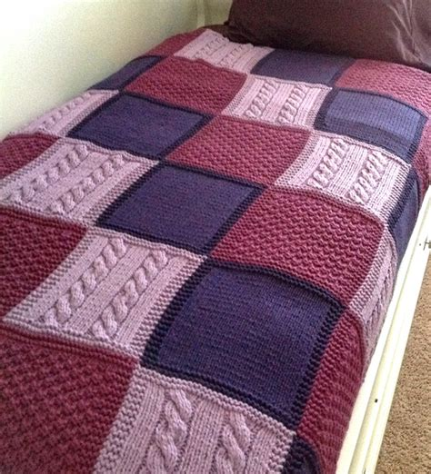 Knitted Patchwork Throw Pattern - easy afghan knitting patterns stockinette knitting