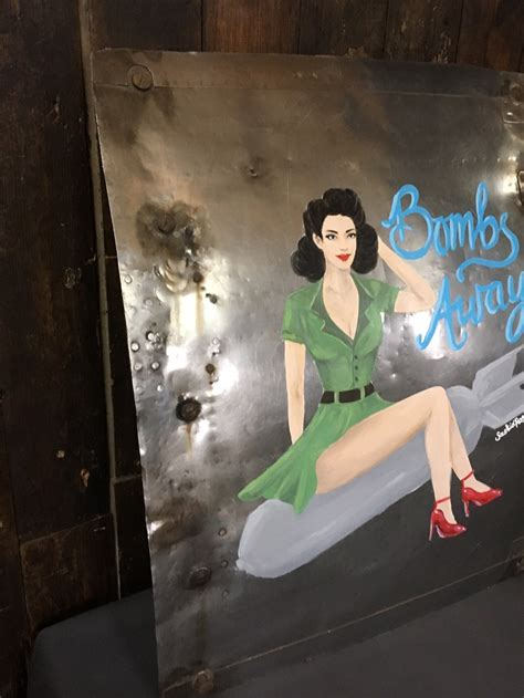 large original nose art pin  girl  wwii aero engine