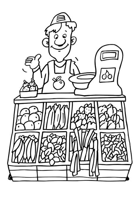preschool coloring pages grocery store coloriage metiers maraicher sur hugolescargot com