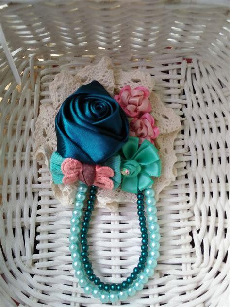 Bros Cantik Warna Toska bros cantik handmade warna biru navy kombinasi toska scarf