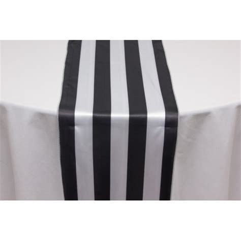 and white striped table runner black white stripe satin table runner great events rentals