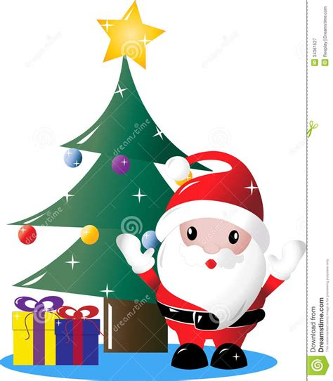 img of santa claus and x mas tree santa tree with presents stock illustration illustration of sparkles