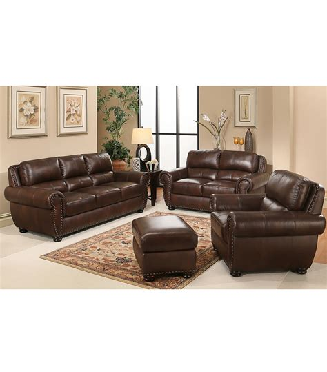 leather livingroom set living room sets 4 top grain leather set