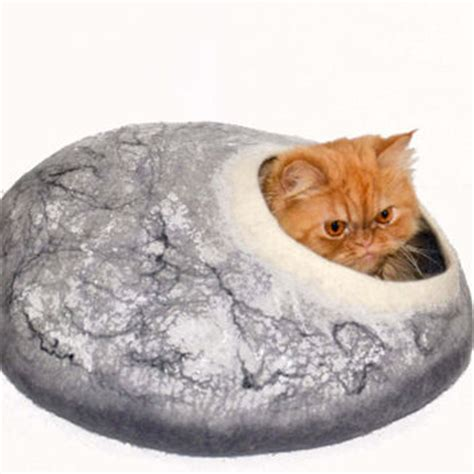 cat beds for large cats large cat bed marble color cave felted from storow on etsy