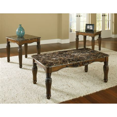 faux marble table l bernards 3 faux marble coffee table set in