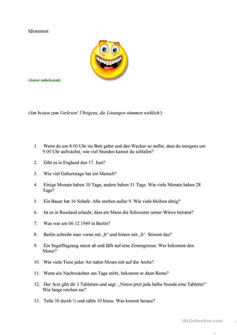 Bewerbungsgesprach Englisch Fragen Und Antworten Idiotentest Arbeitsblatt Kostenlose Daf Arbeitsbl 228 Tter