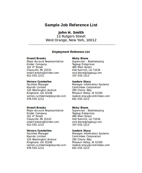 reference list template for employment employment reference colomb christopherbathum co