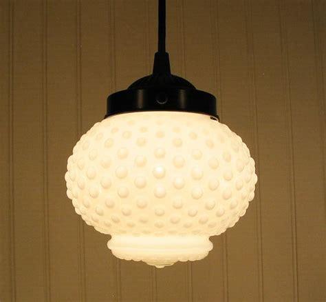 Vintage Large Milk Glass Hobnail Globe PENDANT Light