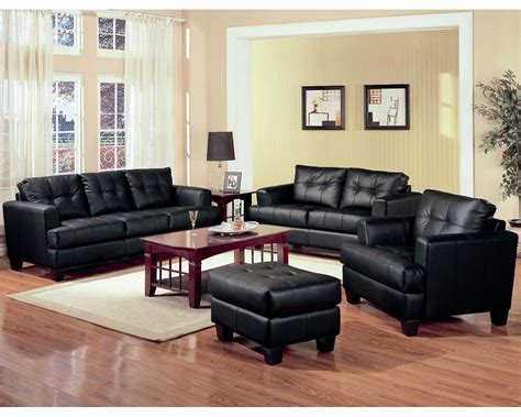 Black Leather Living Room Furniture by Black Leather Living Room Set Inspiration Decosee