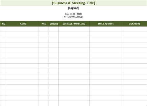 attendee list template attendance list template sheets for word and excel 174