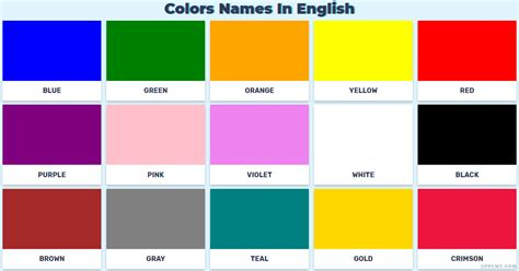 color vocabulary color vocabulary of the color names in