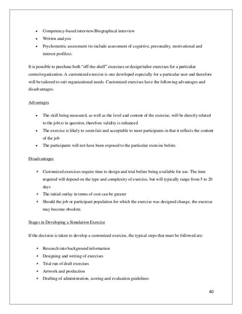 Report Writing Exercises by Report On Assessment Development Centre