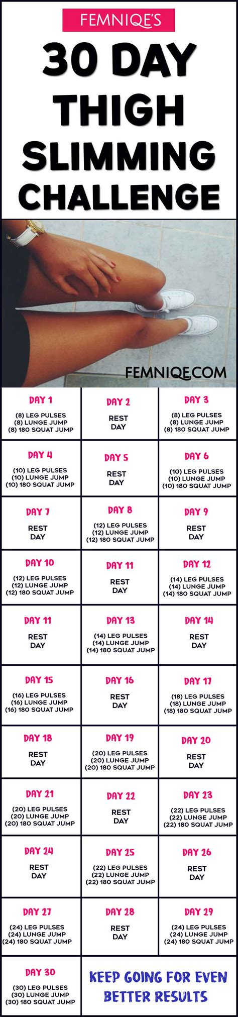 30 day challenge exercise 30 day thigh slimming challenge meal plan inside femniqe