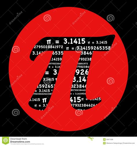 pi symbol  red circle stock illustration illustration
