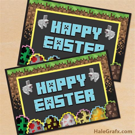 printable minecraft greeting cards free printable minecraft easter greeting card