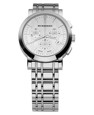 burberry s chronograph stainless steel bracelet