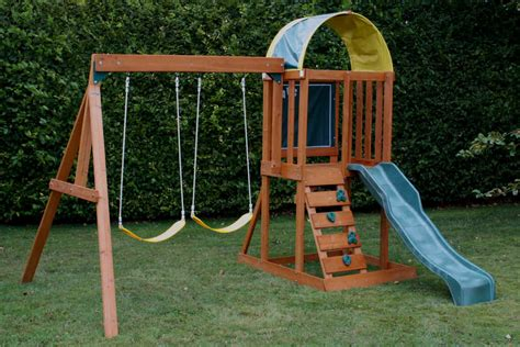 slide and swing wooden swing slide sets garden swings play equipment