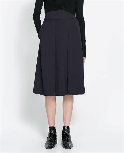 zara pleated skirt in blue navy blue lyst