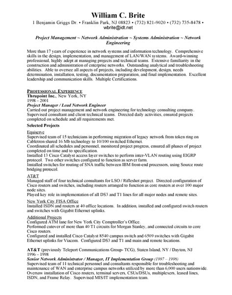 senior network engineer cv exle administrative assistant cv sle