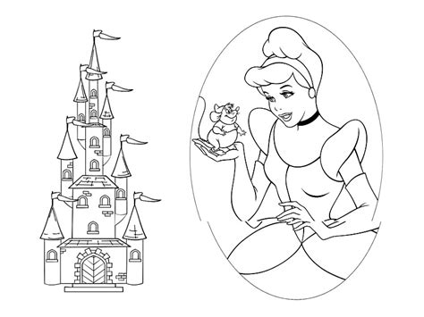 cinderella princess coloring pages and castle