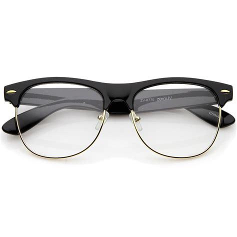 Lens Glasses sunglassla classic horn rimmed clear lens half frame