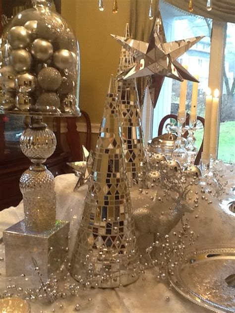 Dining Room Christmas Decorations by White And Silver Christmas Decorating Traditional